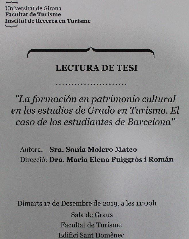 LECTURA DE LA TESIS DOCTORAL DE LA PROFESORA DE EU MEDITERRANI SONIA MOLERO